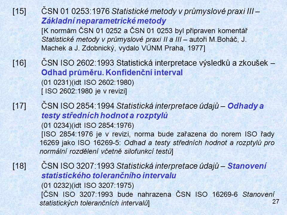 [15]. ČSN 01 0253:1976 Statistické metody v průmyslové praxi III –